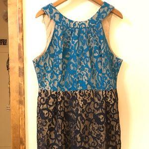 two tone blue lace dress